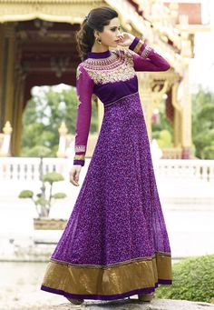 Purple Floral Embroidered Anarkali