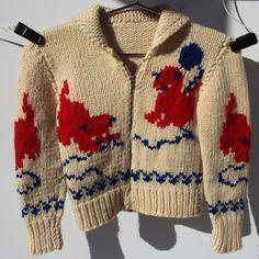 Kittens Playing with Yarn Child Sweater Hand Knit Zippered Buffalo Wool Sweater Red Blue Cream