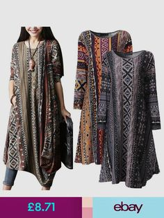 e5acf3bf26c7ad Women Floral Crewneck Long Sleeve Baggy Tops Shirt Dress Kaftan Plus Size