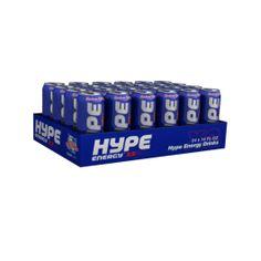Hype energy. - Contiene 10 vitaminas - Ligeramente carbonatada - Sin colorantes ni conservantes artificiales - A partir de zumo de arándanos y de bayas de saúco - Contiene cafeína, taurina, guaraná y ginseng Puedes verlo en http://store.tenuncuerpo10.com/hype-energy.html