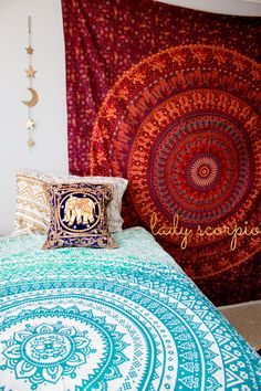 These pillow covers are absolutely stunning! Put this in a room, and you will… Single Bedroom, Girls Bedroom, Bedroom Decor, Bedroom Inspo, Bedroom Ideas, Bedrooms, Design Your Own Home, Indian Tapestry, Indian Home Decor