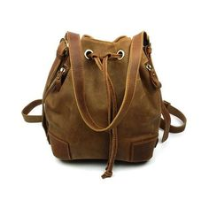 Lixmee women leather vintage bucket shoulder bag ($80) ❤ liked on Polyvore featuring bags, handbags, shoulder bags, genuine leather handbags, vintage leather handbags, brown shoulder bag, brown leather purse and genuine leather shoulder bag