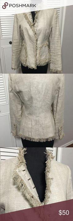 Boston Proper Blazer Jacket Like New Cute Boston Proper Lined Blazer Jacket with frayed hem lines and 2 front functioning pockets, lightly padded shoulders, 100% linen. Dry clean only. Boston Proper Jackets & Coats Blazers