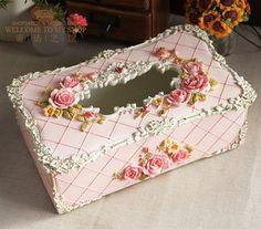 European pastoral palace rose storage box princess home decor birthday present paper towel tube, tissue boxes - Taobao