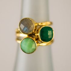 Stackable Gold Bezel Gem Ring Set of 3 (Emerald - Labradorite - Charysoprase)    $169 (plus extra 15% of sale going on right now) Delezhen on Etsy