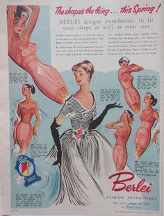 BERLEI BRA AD FASHION FOUNDATION 1953 original vintage AUSTRALIAN advertising