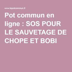 Pot commun en ligne : SOS POUR LE SAUVETAGE DE CHOPE ET BOBI