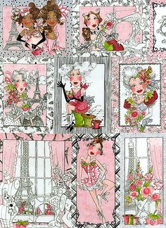 'Sew Paree Panel' from the 'Sew Paree' collection by Loralie Harris of Loralie Designs.