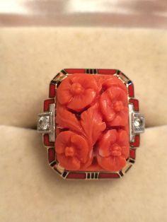 Stunning Art Deco 14k Gold Carved Rich Salmon Color Coral Enamel Diamond Ring | eBay