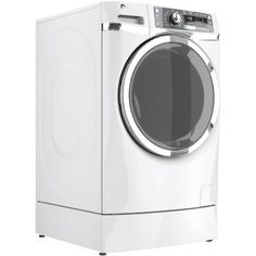 GE 4.8 DOE cu. ft. High-Efficiency RightHeight Front Load Washer with Steam in White, ENERGY STAR, Pedestal Included - GFWR4800FWW at The Ho...