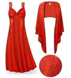 5248f7555f3 Customizable 2-Piece Red Glimmer   Sequins Plus Size   SuperSize Princess  Seam Dress Set