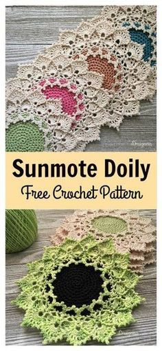 Sunmote Doily Free Crochet Pattern Doilies are delicate and tasteful. They can be used as decoration on tables or even framed as beautiful wall art. This Sunmote Doily Free Crochet Pattern is easy to crochet. Free Crochet Doily Patterns, Crochet Motif, Crochet Designs, Crochet Doilies, Crochet Coaster, Tatting Patterns, Free Pattern, Crochet Sunflower, Crochet Puff Flower