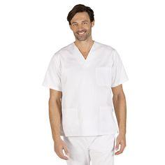 601 blusa sanitario manga corta, cuello pico y color blanco #medico #enfermero #sanidad