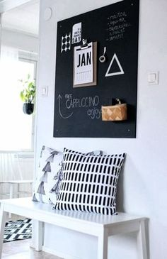 Trendy DIY Chalkboard ideas and Paint Project For Decor [ Must Try ] Halls, Sweet Home, Interior And Exterior, Interior Design, Ideas Para Organizar, Diy Chalkboard, Blackboard Wall, Kitchen Blackboard, Home And Deco