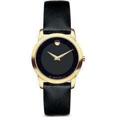 Movado Museum Classic Watch with Black Calfskin Strap, 28mm ($595) ❤ liked on Polyvore featuring jewelry, watches, accessories, gold, movado wrist watch, gold jewelry, movado jewelry, gold wristwatches and movado watches