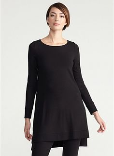 Ballet Neck Long Tunic in Viscose Jersey
