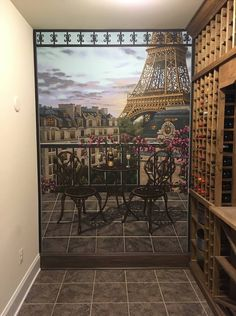Paris and London Themed Mural hand painted in a Wine Cellar by Tom Taylor of Mural Art LLC for a home in Ellicott City, Maryland. Mural Art, Wall Murals, Ellicott City, Painted Walls, Hand Painted, Wine Cellar, Maryland, Virginia, Tom Taylor