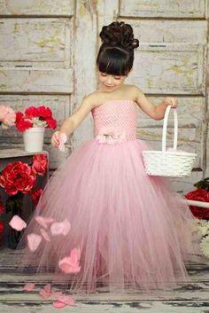 Pink Tulle Flower Girl Dress