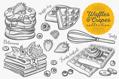 Waffles and crepes hand-drawn graphic elements for holiday invitations, dinners & menu templates. (for Adobe Illustrator and Adobe Photoshop) --- Inside archive Drink Bar, Waffle Day, Crepes And Waffles, Food Doodles, Fast Food Menu, Restaurant Flyer, Desserts Menu, Holiday Invitations, Creative Sketches