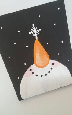This canvas art features a smiling snowman looking up at snow, while balancing a snowflake on his nose. A perfect addition to your holiday decor or a great gift for a snowman lover!  100% hand painted.  Have a question? Need a custom order? Feel free to convo me