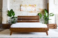 Modern Bed, Platform Bed, Walnut Bed, Midcentury Modern Bed, Bed, Bedroom Furniture, Bed Frame, Headboard, Platform Bed Frame, The Stowe   This bed was made in response to the incredible demand of our Bosco Bed. Beautiful 100% Solid walnut construction with slatted and slightly angled headboard supported by powder coated steel headboard supports. Nods to both modern and midcentury designs aesthetics with tapered and angled leg system, complemented by softened headboard slats for our…