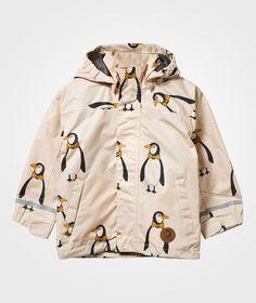 Mini Rodini Edelweiss Penguin Regnjacka Beige - 1