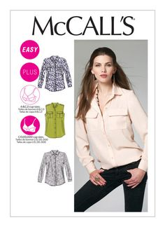 M6436 | Misses'/Women's Button-Down Shirts Sewing Pattern | McCall's Patterns