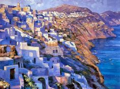 Mediterranean Seascape ~ Howard Behrens, Impressionism with spatula