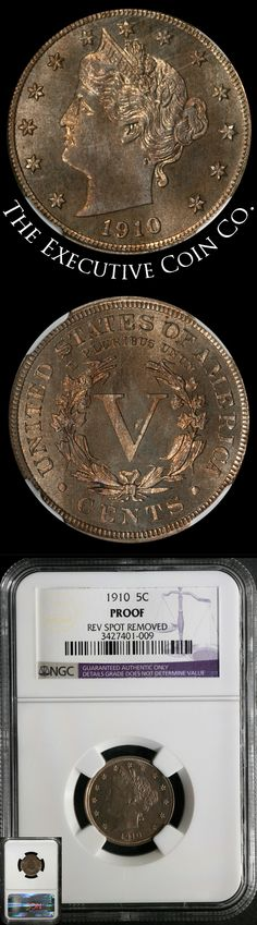 This 1910 Liberty V Nickel has great eye appeal and great color with a nice strike. The coin has had a spot on the reverse removed and probably would have graded 64 without the issues. Certified: NGC Proof Rev. Spot Removed