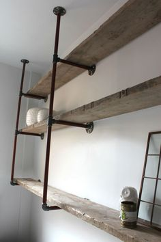 Vintage Industrial Pipe Shelf Style - http://www.vue9.com/vintage-industrial-pipe-shelf-style/ : #Storage Get some inspirations to learn more about industrial pipe shelf if you have plan in building one. Vintage style pipe shelving is certainly unique. Ask yourself about what needed in how to build an industrial shelf made of pipe. Yeah, some pipes will do along with brackets, screws and wooden...