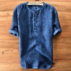 Men's Casual Cotton Linen Short-Sleeve Summer Top M-3XL 4 Colors-Loluxe