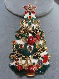 Vintage Lunch at The Ritz Merry Christmas Tree Pin Pendant LATR2GO Estate | eBay