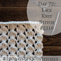 A 37 page PDF bundle of lace knit stitch patterns. Super Bulky yarn makes them super quick! Videos are available to help. Knitting Stiches, Knitting Videos, Lace Knitting, Crochet Stitches, Knit Lace, Stitch Patterns, Knitting Patterns, Crochet Patterns, Creative Knitting