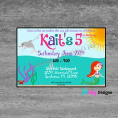 Mermaid Birthday Invitation Girl By JSdayDesigns On Etsy