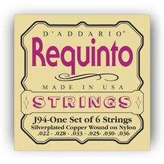 D'Addario Strings : Other Instruments : J94 Requinto Strings : Designed specifically for Requinto guitars and tuning : Rectified clear nylon and silver-plated copper wound on nylon strings : Warm and projecting, long lasting tone : Made in the U.S.A. for the highest quality and performance : String Gauges: Silver-plated Copper .022, .028, .033, .025, .030, .036 : Environmentally friendly, corrosion resistant packaging for strings that are always fresh