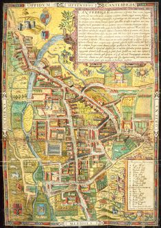 Street map of 16th century Cambridge includes landmarks such as Pembroke Hall, 'Peterhowse,' 'Trumpington Steate', 'Kinges Colledge', 'Trinitie Halle' 'Penny farthing lane' and 'market lane'. Around the edges of the medieval town sheep, horses, cows and a wild boar frolick and graze. This map is from De antiquitate Cantebrigiensis Academi: libri duo (John Day: London, 1574).