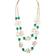 I love the All the Rage Leaf & Flower Necklace from LittleBlackBag