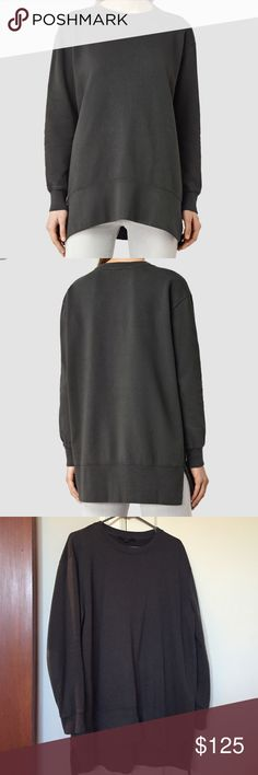 """Livra Crew Sweatshirt Color is """"Pirate black"""" loose fitting and longer in the back to cover bum when worn with leggings. Worn twice and great condition. I do not trade All Saints Tops Sweatshirts & Hoodies"""