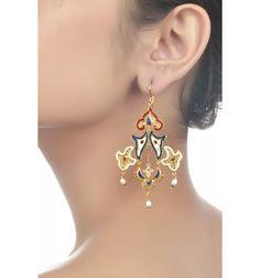 Silver Mughal Motif Earrings