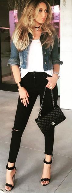 #spring #fashion #outffitideas | Denim + Black and White                                                                             Source