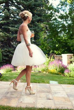 "I love the idea of a ""mini wedding gown"" for rehearsal dinner. kind of a way to wear a fancy white dress more than once during your special day(s)!"