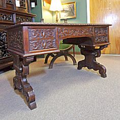 19th Century French Antique Renaissance Style Oak Desk Oak Desk, Renaissance Fashion, Desk Chair, French Antiques, Antique Furniture, Corner Desk, 19th Century, Entryway Tables, Objects