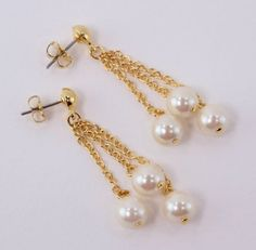 Vintage 1991 Traditional Cottage Chic Avon Pearly Cluster Faux Pearl Gold Chain Dangle Earrings by ThePaisleyUnicorn, $12.00
