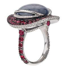 Katherine Jetter Grey Star Sapphire Red Spinel Ruby Diamond Gold Ring
