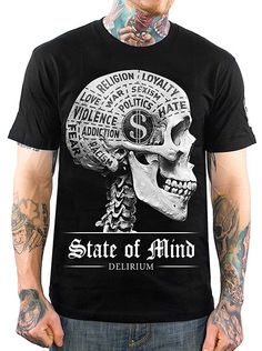 """Men's """"State of Mind"""" Tee by Skygraphx (Black) #InkedMag #InkedShop #State #of #Mind #Black #Tee"""