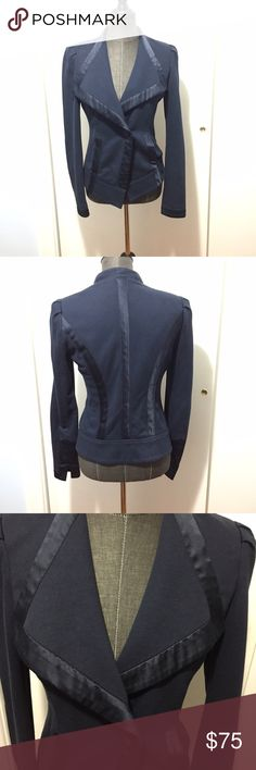 Nanette lepore island spice blazer jacket navy s Nanette Lepore blazer jacket with Super cute silk details and wide collar. One button. Good pre-owned condition but could use a cleaning. True to size small. Nanette Lepore Jackets & Coats Blazers