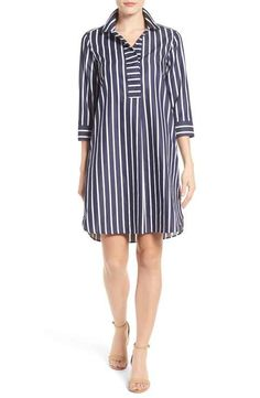 Foxcroft Foxcroft Club Stripe Shirtdress (Regular & Petite) available at Trendy Dresses, Nice Dresses, Casual Dresses, Casual Outfits, Summer Dresses, Women's Dresses, Fashion Wear, Fashion Dresses, Bodycon Outfits