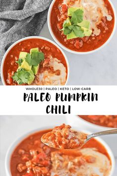 Paleo Pumpkin Chili - One of the easiest one pot meal you will ever make. This delicious family friendly meal is made quickly in the Instant Pot. It's paleo, Whole30 compliant, dairy free, keto and low-carb! #finishedwithsalt #pumpkin #lowcarb #keto #whole30 #whole30recipes | finishedwithsalt.com