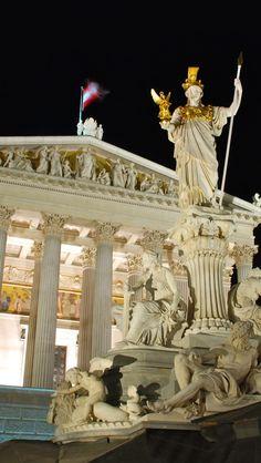 Parliament building at night - Vienna, Austria