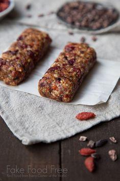 Chocolate Cherry Goji Bars from Superfood Snacks by Julie Morris | Fake Food Free